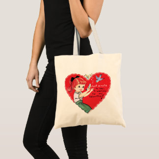 Retro Girl Valentine Holiday tote bag