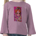 retro girl with flowers tee shirts