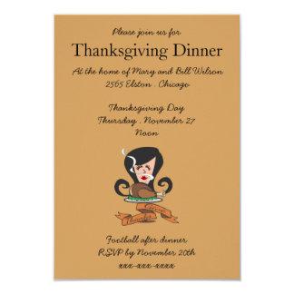 Retro Girl With Thanksgiving Turkey Tan Card