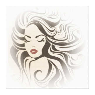 Retro girl with wavy hair Hairstyling branding Canvas Print