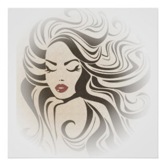 Retro girl with wavy hair Hairstyling branding Poster