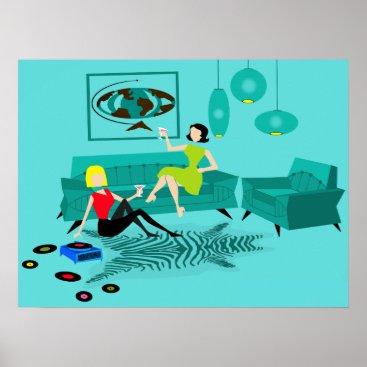 Art Themed Retro GIrls' Night In Poster