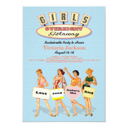 Retro Girls Overnight getaway Invitations