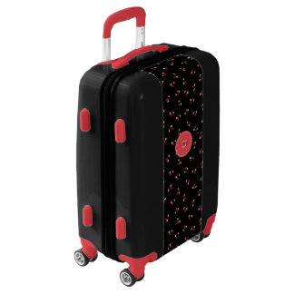 Retro girly black red cherry patterns monogram luggage