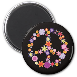 Retro Girly Floral Peace Symbol.png Fridge Magnets