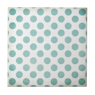 Retro Girly Light Blue Polka Dot Design Ceramic Tile