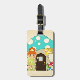 Retro Girly Mushroom Fairy Faeries Travel Bag Tags
