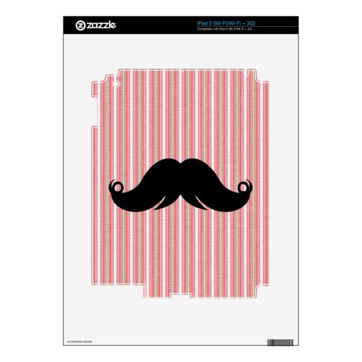 Retro Girly Mustache Moustache Stache Custom Skins For The iPad 2