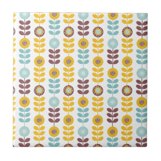 Retro girly orange teal abstrct floral pattern tile