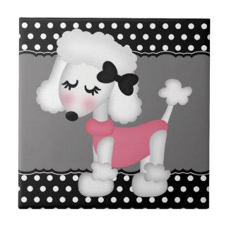 Retro Girly Paris Poodle Dog Ceramic Tile