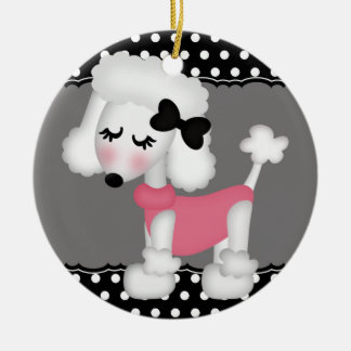 Retro Girly Paris Poodle Dog Christmas Ornaments