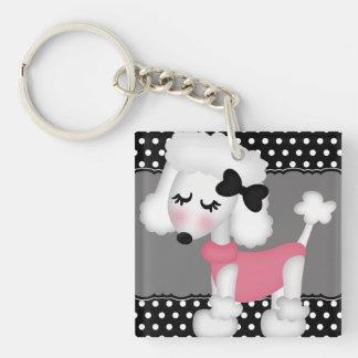 Retro Girly Paris Poodle Dog Single-Sided Square Acrylic Keychain