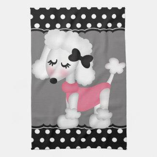 Retro Girly Paris Poodle Dog Kitchen Towels