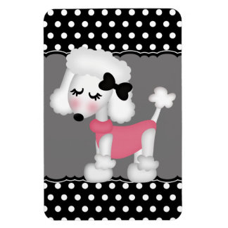 Retro Girly Paris Poodle Dog Rectangular Magnets