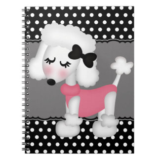 Retro Girly Paris Poodle Dog Spiral Note Book