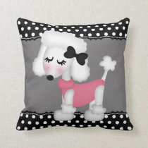 Retro Girly Paris Poodle Dog Throw Pillow