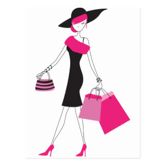 Retro Girly Paris Shopping Postcard