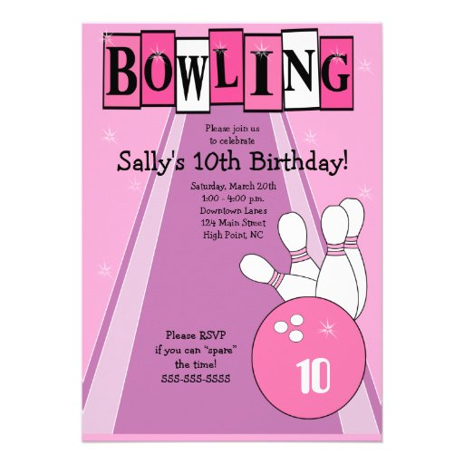 Personalized Girl bowling Invitations – Girly Party Invitations