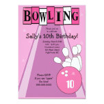 "Retro Girly Pink Birthday Bowling Party Invite 5"" X 7"" Invitation Card"