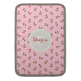 Retro girly pink cherry patterns monogram MacBook air sleeve
