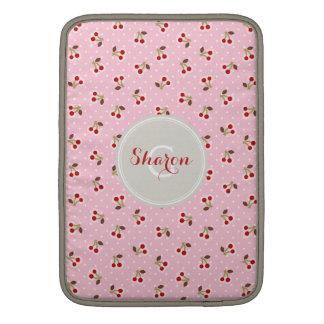 Retro girly pink cherry patterns monogram sleeve for MacBook air