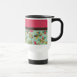 Retro Girly Pink Pattern with Leather Mugs
