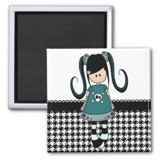 Retro Girly Rag Doll 2 Inch Square Magnet