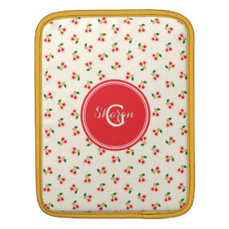 Retro girly red cherry patterns monogram sleeves for iPads