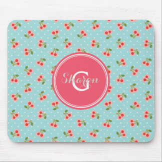 Retro girly turquoise cherry patterns monogram mouse pad