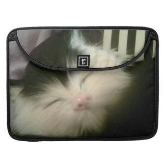 Retro Girly Vintage Fur Black White Kitten Cat Sleeve For MacBooks