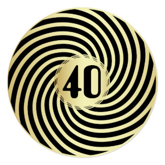 Retro Glam Black & Gold Circular Spiral Swirl 40th Card