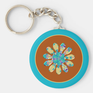 Retro Glam Daisy Flower Turquoise Opalescent Glow Keychain