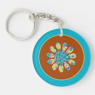 Retro Glam Daisy Flower Turquoise Opalescent Glow Keychain