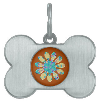 Retro Glam Daisy Flower Turquoise Opalescent Glow Pet ID Tag