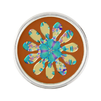 Retro Glam Daisy Flower Turquoise Opalescent Glow Pin