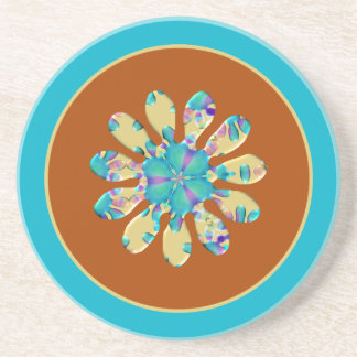 Retro Glam Daisy Flower Turquoise Opalescent Glow Sandstone Coaster