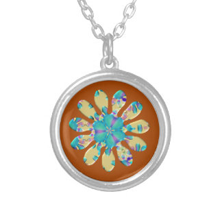 Retro Glam Daisy Flower Turquoise Opalescent Glow Silver Plated Necklace