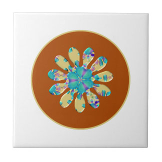 Retro Glam Daisy Flower Turquoise Opalescent Glow Tile