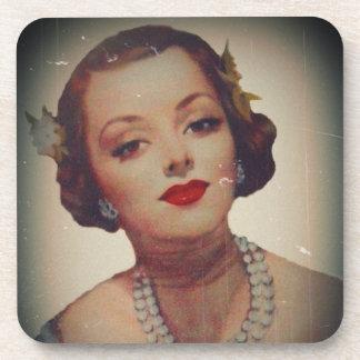 Retro Glam Girl Lipstick Coaster