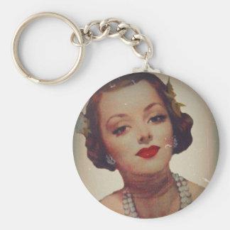 Retro Glam Girl Lipstick Keychain