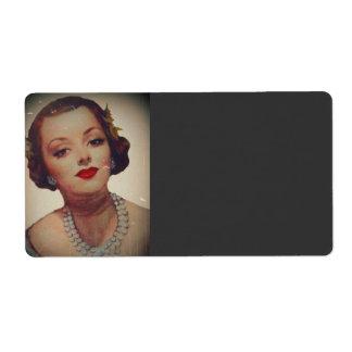 Retro Glam Girl Lipstick Label