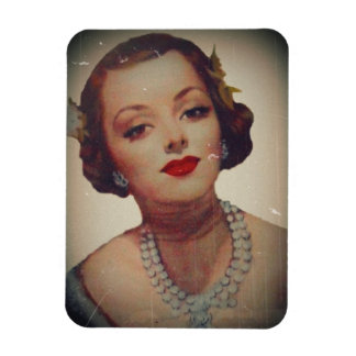 Retro Glam Girl Lipstick Rectangular Photo Magnet