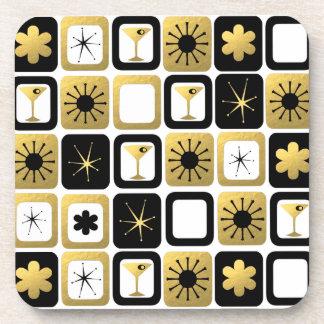 Retro Glamorous Gold Hard Plastic Coasters