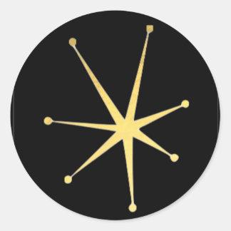Retro Glamorous Gold Impressionist Star Stickers