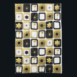 """Retro Glamorous Gold Kitchen Towel<br><div class=""""desc"""">What&#39;s black and white and gold all over? It&#39;s this Retro Glamorous Gold Kitchen Towel. The mid century modern design features a grid of sophisticated images. There are mix and match patterns of mod flowers, starbursts, martini glasses, and impressionist stars on black, white, and gold backgrounds. This design is ideal,...</div>"""