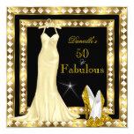 Retro Glamour Hollywood Fabulous 50 Gold Deco 2 Invitation
