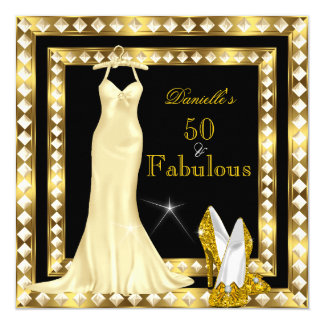 Retro Glamour Hollywood Fabulous 50 Gold Deco 2 5.25x5.25 Square Paper Invitation Card