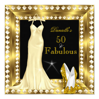 Retro Glamour Hollywood Fabulous 50 Gold Deco 3 5.25x5.25 Square Paper Invitation Card