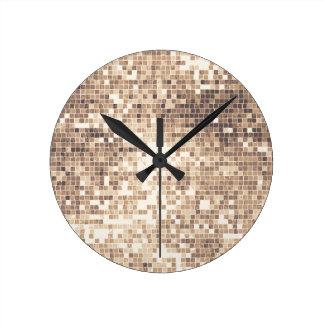 Retro Glitter Round Clock