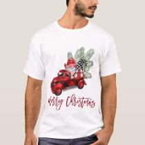 Retro Gnomes Christmas Buffalo Red Truck Holiday T-Shirt